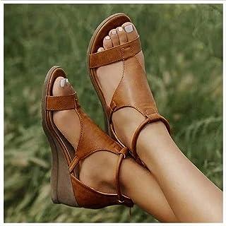QERTY New 2021 Women's Platform Sandals T-Strap Block Heel Sandals with Zipper Vintage Beach Sandals Ladies Walking Shoes,...