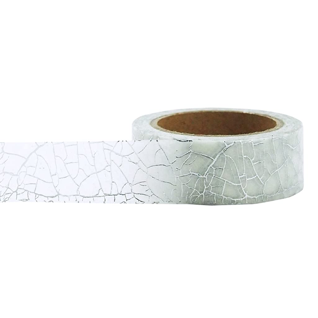 Little B 100430 Decorative Foil Paper Tape, Silver Crackle