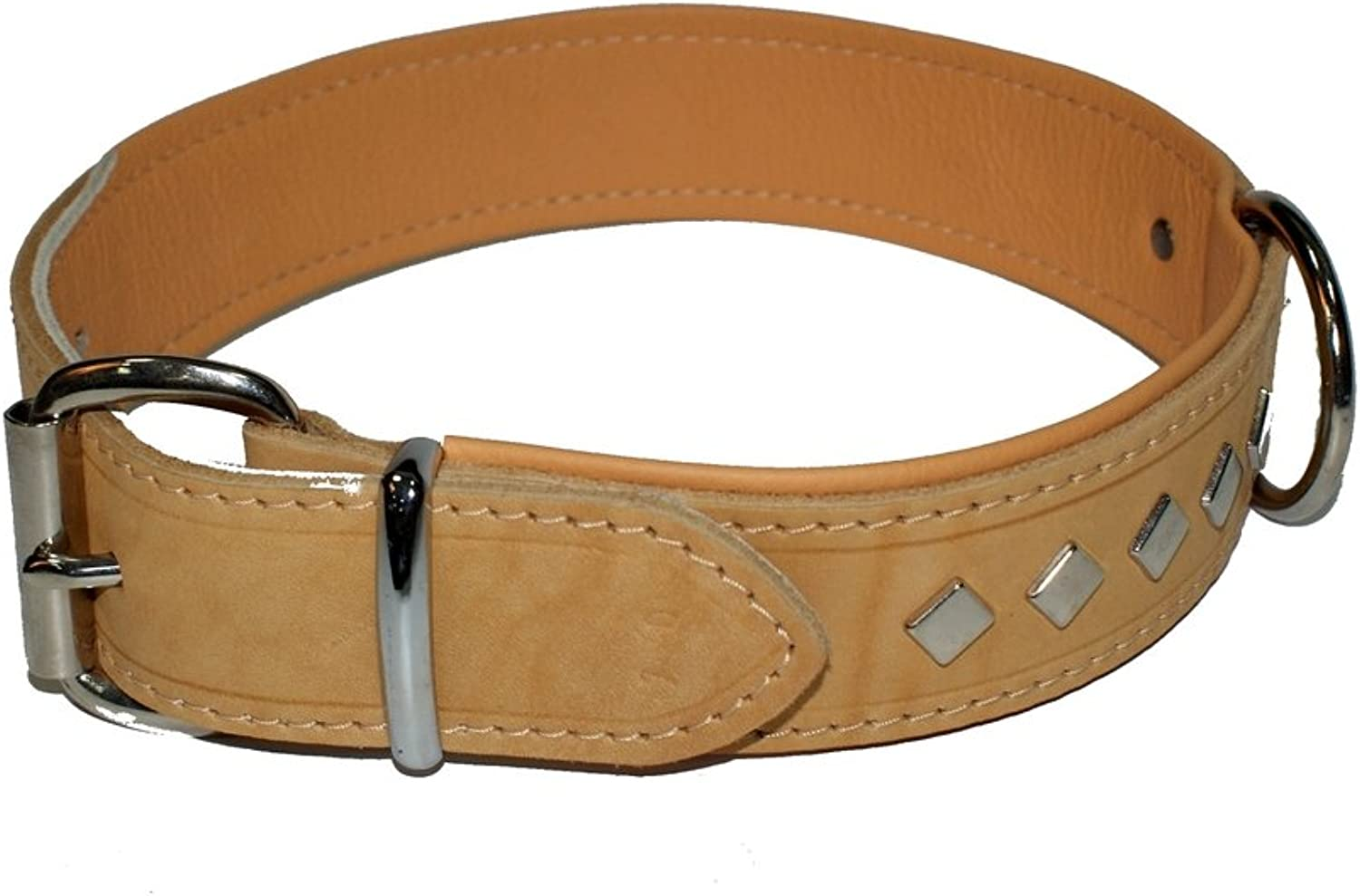 Dingo Dog Collar Made of Exclusive Soft Leather, Decorative and Durable Natural 11475