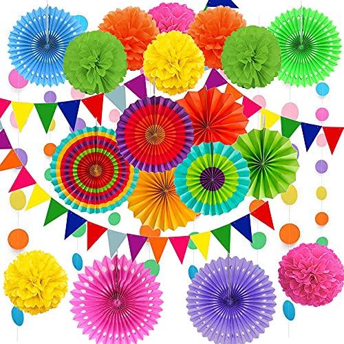 Cojoy 21 Stück Party Dekorationsset, hängende Papier fächer, pompons Blumen, Papier Wimpel & Punktekette für Geburtstag, Hochzeit, Babyparty, Fiesta Party dekoration