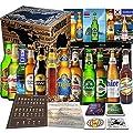 12x Biere der Welt Geschenk für Mann , Geschenk für Geburtstag, perfektes Vatertagsgeschenk, Geschenk für Freund + 4 Bierdeckel + Tasting Anleitung + 12x Produktbeschreibung, Freunde oder Kollegen, Geschenkset