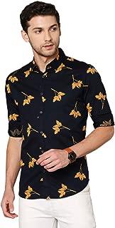 Dennis Lingo Men's Printed Sky Blue Slim Fit Cotton Casual Shirt
