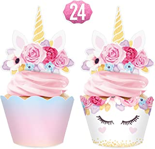 xo, Fetti Unicorn Cupcake Toppers + Wrappers - set of 24   Rainbow Birthday Party Supplies + Magical Flower Decorations