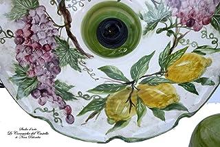 Lampadario Cucina Ceramica diametro 45 centimetri Linea Uva Limoni coppetta a soffitto PARTI ELETTRICHE Ceramica Le Cerami...