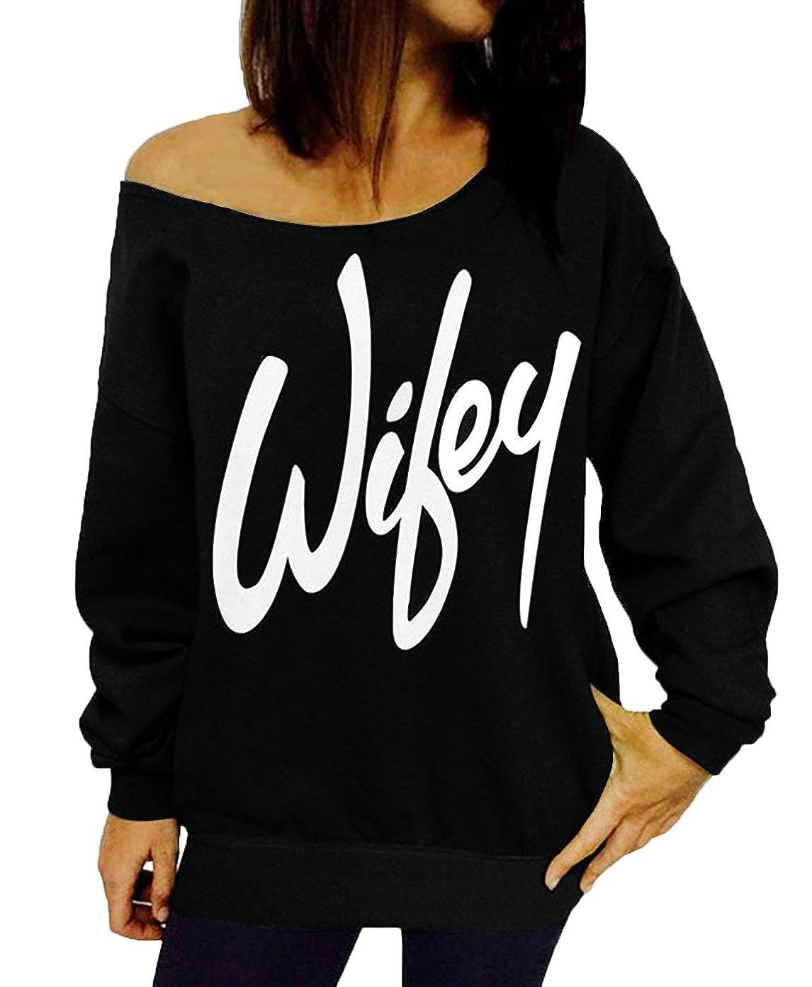 GSVIBK Womens Black Sweatshirts Long Sleeve Off Shoulder Sweatshirt Pullover Letter Printed Shirt Wifey Top