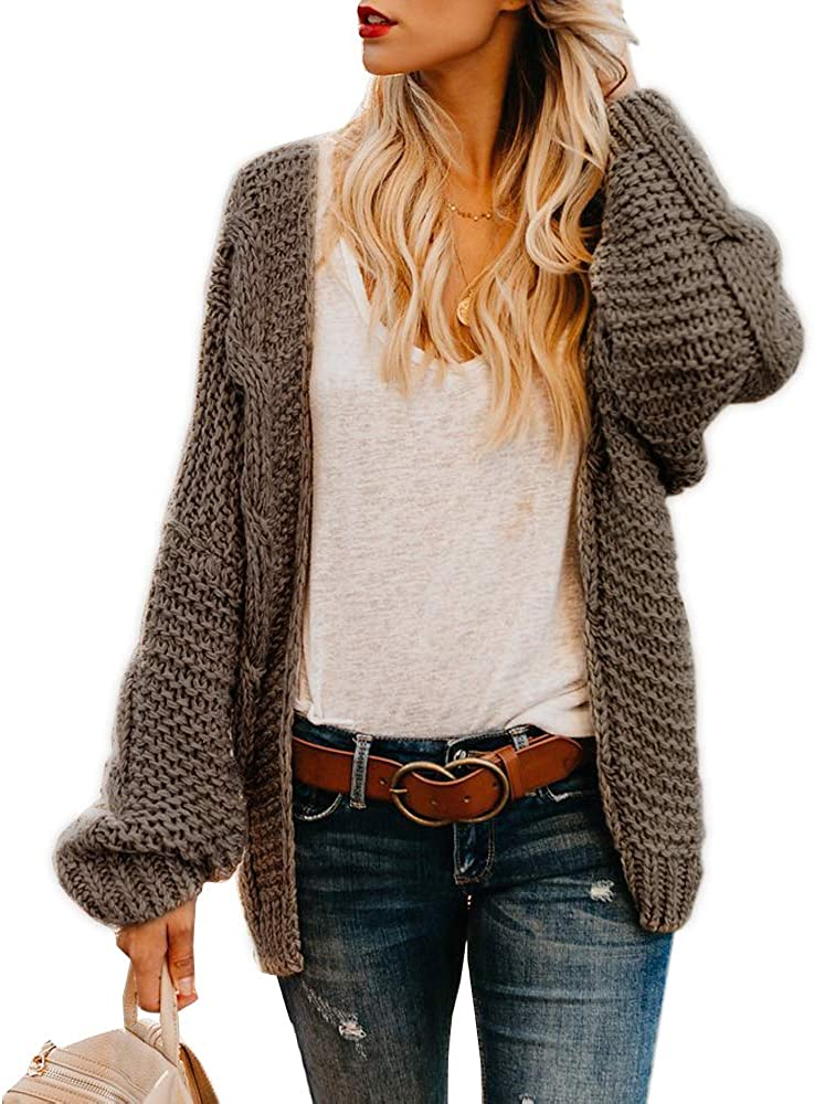 Womens Cable Knit Open Front Plus Size Cardigan Sweaters Long Boyfriend Chunky Cardigans
