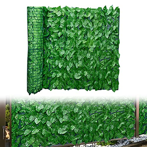 Hidyliu 1 Rolle Künstliche Hecke, Künstlicher Efeu Sichtschutz Zaun, Grün Gartensichtschutz, Apfelblatt Dekoration, UV-Schutz, für Outdoor, Garten, Terrasse und Hinterhof(0.5 x 3 Meter)