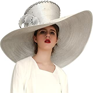 Koola Women Church Hat Derby Big Wide Brim Wedding Hat Cocktail Tea Party Cap