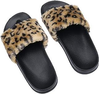 Leopard-Print Fluffy Flat Slippers Sandals