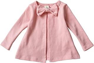 Weixinbuy Baby Girls' Newborn Coat Cotton Bowknot Pink Jacket Gray Outwear