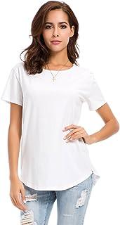 nordicwinds Women's Crew Neck Blouse Simple Casual Work Plain T-Shirt Summer Tops