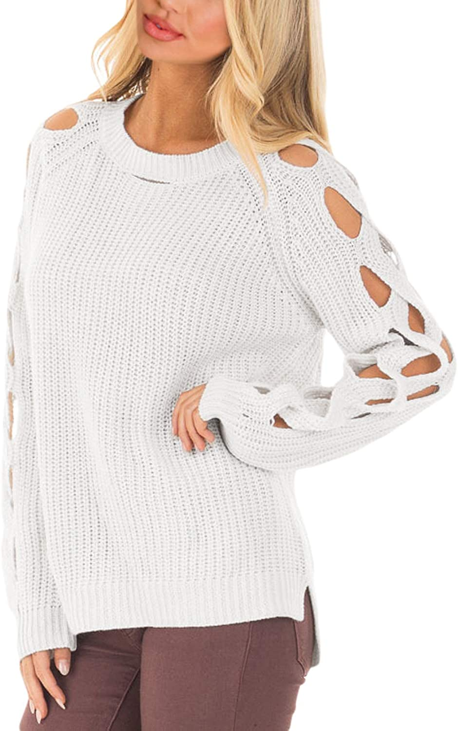 Podlily Women's Off Shoulder ALine Cutout Detail Ribbed Knit Sweater