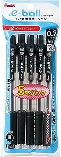 ぺんてる ドット・イー油性ボールペン 0.7mm 黒5本パック XBK127-5