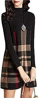 BININBOX Vestido suéter a Cuadros para Mujer de Medio Cuello Alto Vestido de Moda para Invierno y otoño