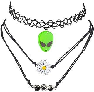 efbfc6ce150 Lux Accessories Black Alien Hippie Daisy Ying Yang Novelty Choker Set (3PCS)