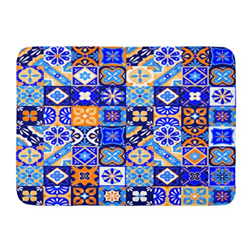 Emvency Doormats Bath Rugs Outdoor/Indoor Door Mat Colorful Pattern Mexican Talavera Tiles in Blue Orange and White Yellow Pottery Bathroom Decor Rug Bath Mat 16' x 24'