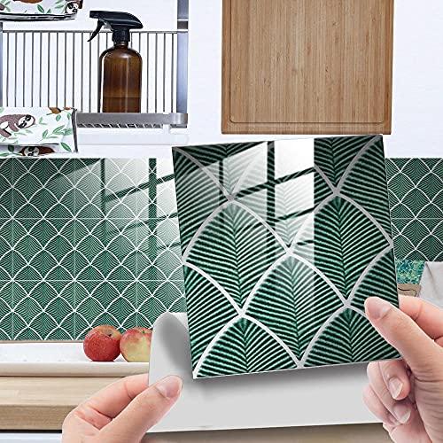 Credence Adhesive pour Cuisine Brique Palme Grün 10 Pcs Stickers Muraux Salle de Bains Cuisine Carrelage Adhesif Mural avec Motifs de Carrelage Dalle Pvc Adhesive Murale