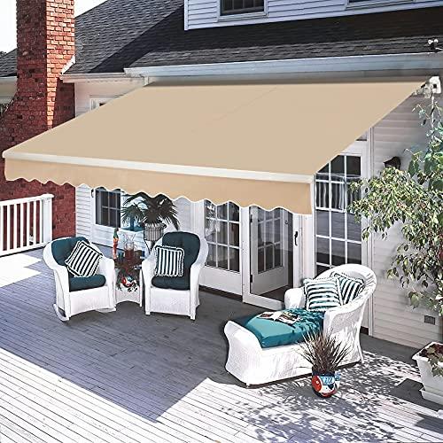 Aoxun 13x8FT Patio Awnings Retractable-Manual Exterior Awning for Doors Windows Sun Shade Cover Waterproof Outdoor Canopy - Aluminum Frame, Crank Handle, Beige