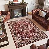 TAPISO Laila Alfombra de Salón Sala Dormitorio Diseño Clásico Oriental Rojo Beige Negro Flores Borde Fina 160 x 230 cm