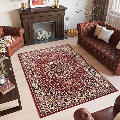 Tapiso Laila Alfombra de Salón Sala Dormitorio Diseño Clásico Oriental Rojo Beige Negro Flores Borde Fina 200 x 300 cm