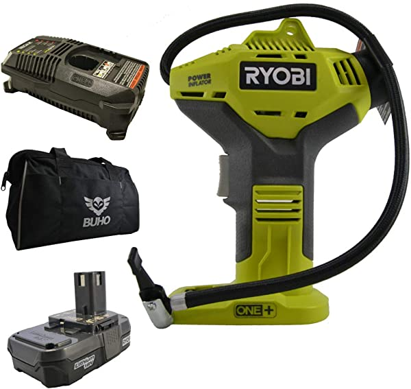 Ryobi P737 Portable Power Inflator With P118 Charger P102 Lithium Ion Battery And 15 Inch Buho Tool Bag