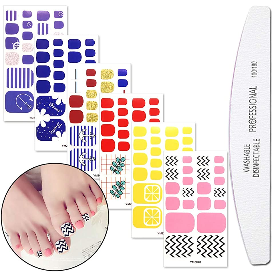 WOKOTO 6 Sheets Adhesive Toenail Art Polish Stickers Strips With 1Pc Nail File Flower Manicure Design Adhesive Nail Wraps Decals Tips