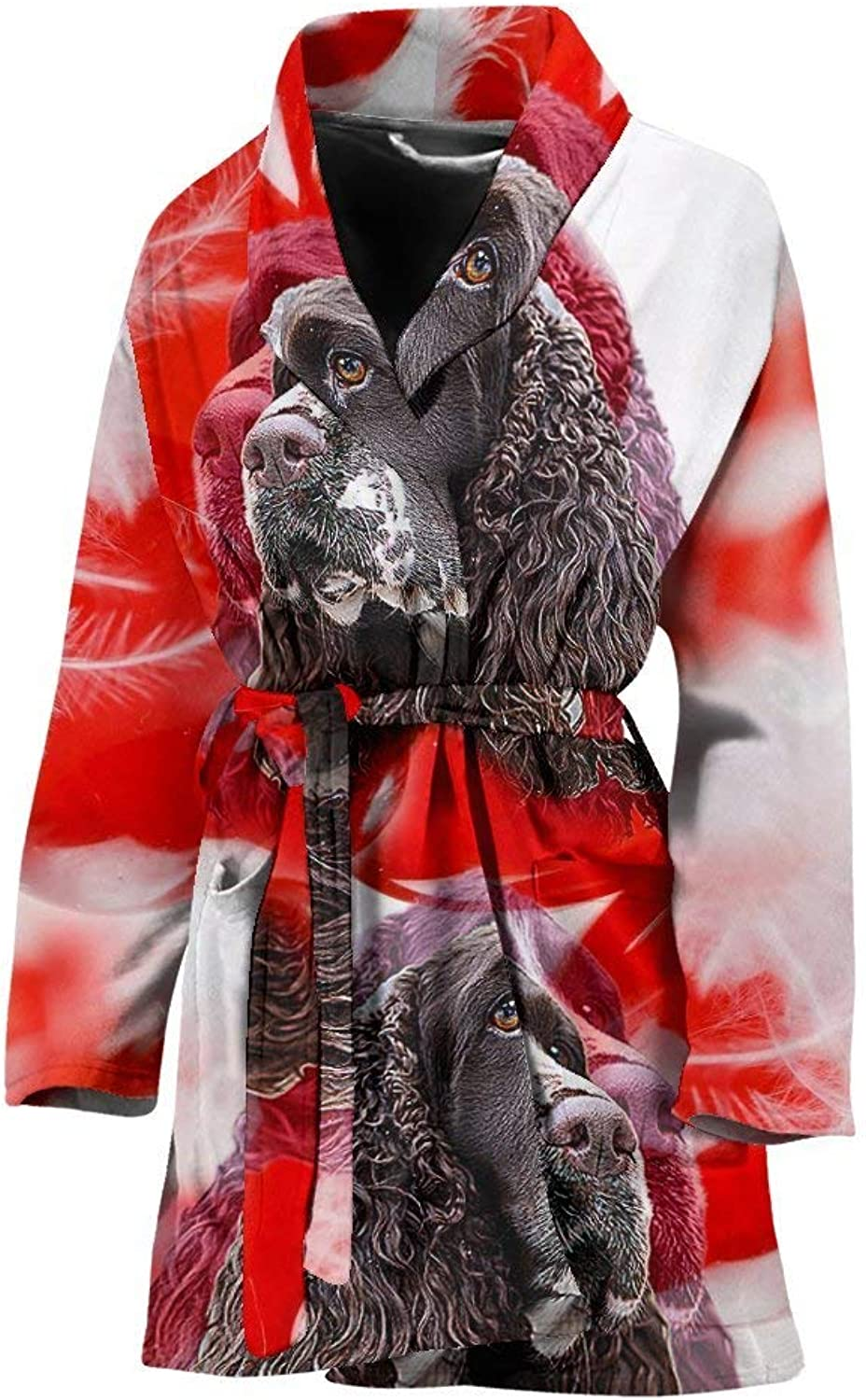 Deruj English Springer Spaniel On White Print Women's Bath Robe