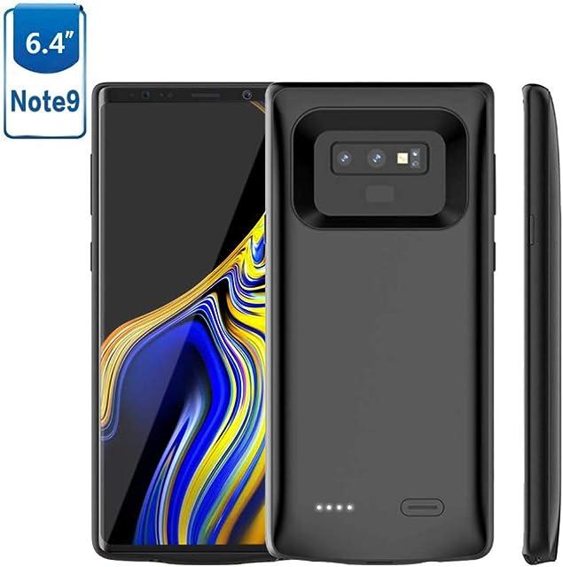 HOTSO 2 en 1 Funda Batería Cargador para Samsung Galaxy Note 9 5000mAh Batería Externa Carcasa Silicona Fina Powerbank 360 Grados Protección Abertura Precisa para Todos los Botones y S Pen (Negro)