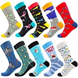 Men's Fun Dress Socks Patterned Crew Colorful Funky Fancy Novelty Funny Casual Socks for Men (10 Pairs-Bite Me)