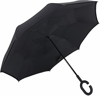 Dopobo Double Layer Inverted Umbrella Cars Reverse Umbrella Extremely Waterproof and Windproof Inverted Umbrella with C-Shaped Handle (B-K)