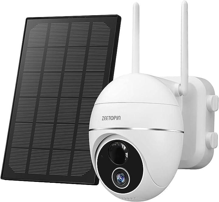 Telecamera wifi notturna e impermeabile ip camera rotazione 355 °/140 ° con pannello solare zeetopin B08TGYQY1H