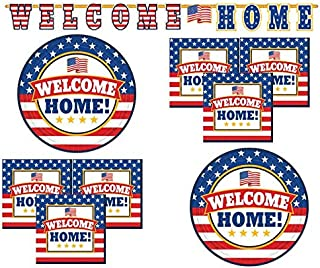 Welcome Home Decorations and Party Supplies with Tableware Plates Napkins Banner U.S. Army Navy Marines Patriotic Serves 18 Guests