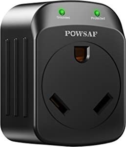 POWSAF rv Surge Protector, RV Electrical Adapter 3 Prong 15 amp Male to 30 amp Female RV Camper Generator Plug Outdoor Electrical Power Converter