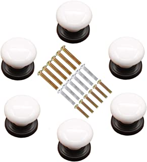 Marstree White Porcelain Ceramic Knobs DIY Door Drawer Cupboard Pull Handle Furniture Kitchen Handle Knobs and Pulls for Cabinets, Pack of 6