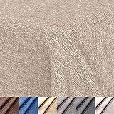 OOYCYOO Mantel con aspecto de lino, impermeable, fácil de limpiar, lavable, antimanchas, color y tamaño a elegir, rectangular, 130 x 180 cm, color champán
