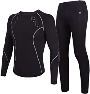 Mens Sports Fitness Clothing Men's Base Underwear Suit, Quick-Drying Long-Sleeve Tight Shirt and Pants, Sports Fitness Tro...
