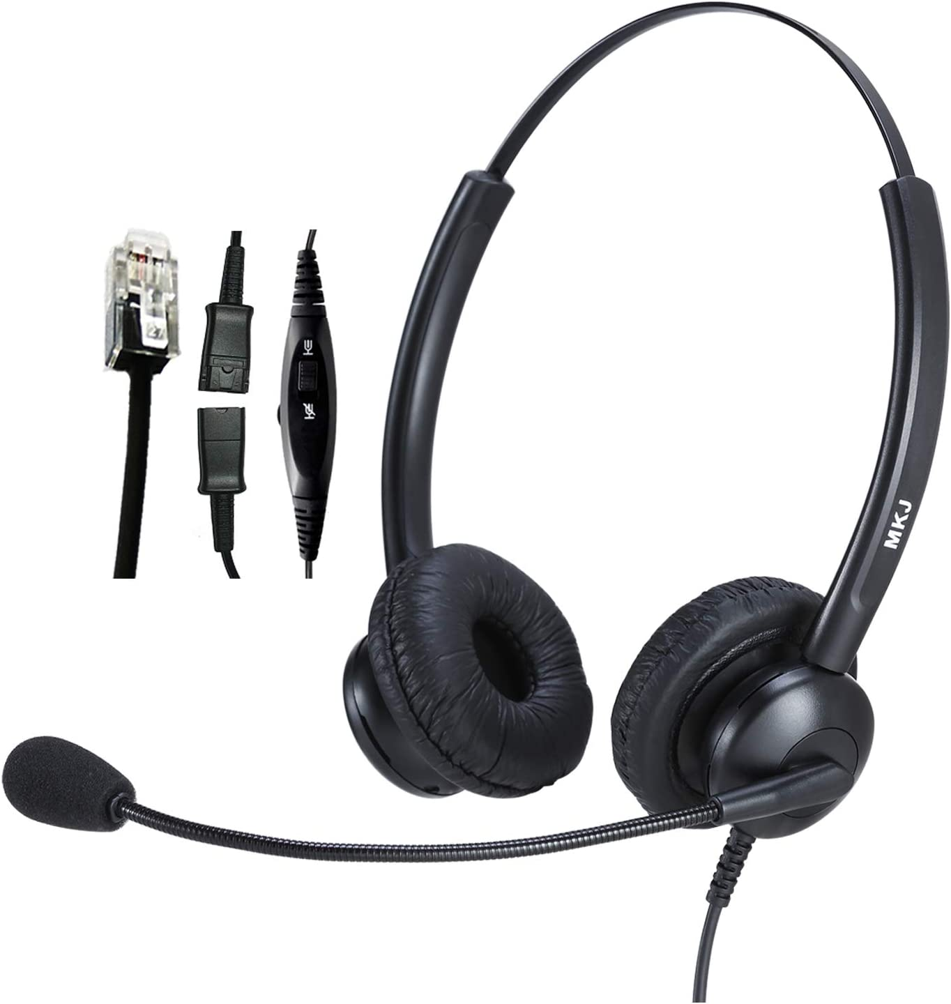 Telephone Headset with Noise Cancelling Microphone for Landline Phones Call Center Headset with Volume Control for Office Phone Plantronics Dialer Avaya 9508 Aastra Digium Fanvil Mitel Nortel