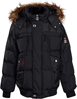 J. Whistler Boys' Heavyweight Winter Bomber Jacket with Removable Hood