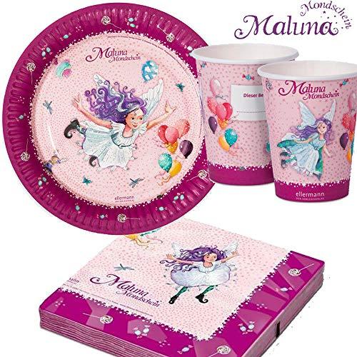 37-TLG. Party-Set * MALUNA Mondschein * für Kindergeburtstag und Mottoparty   Teller + Becher + Servietten + Deko   Geburtstag Fee Mädchen rosa pink