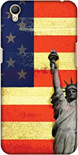 AMZER Slim Fit Handcrafted Designer Printed Hard Shell Case Back Cover for Oppo A37 - Rustic Liberty US Flag