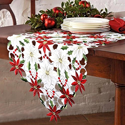 Poinsettia Holly Leaf Embroidered Table Runner - Table Linens for Christmas Decorations 15 x 69 Inch