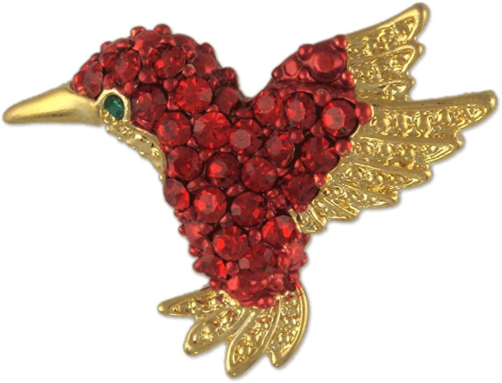 Gold Plated Crystal Humming Bird Brooch PIN Made with Swarovski Elements