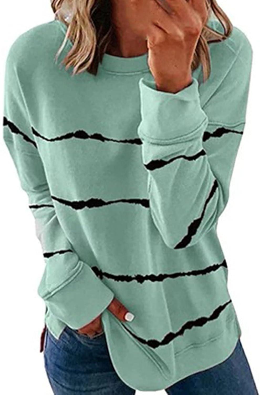 Womens Casual Crewneck Sweatshirt Striped Printed Loose Soft Long Sleeve Side Split Pullover Tops Shirts