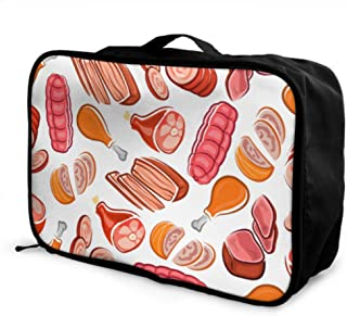 Custom Traveling Duffel Bag Lightweight Creative Delicious Buffet Bbq Meat Storage Bag For Clothes Foldable Portable Storage Luggage Bag With Trolley Sleeve