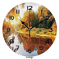 ALUONI Round Wall Clock River in A Delightful Autumn Forest at Sunny Day 10 inch Morden Wall Clocks Silent Round Decorative Clock SW86150