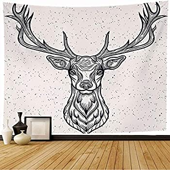 Bknnami Tapestry Wall Hanging Whitetail Horned Deer Graphic Head Texture White Design Rack Animals Tattoo Wild Wildlife Vintage Wall Tapesty for Bedroom Home Wall Decor 60 x60