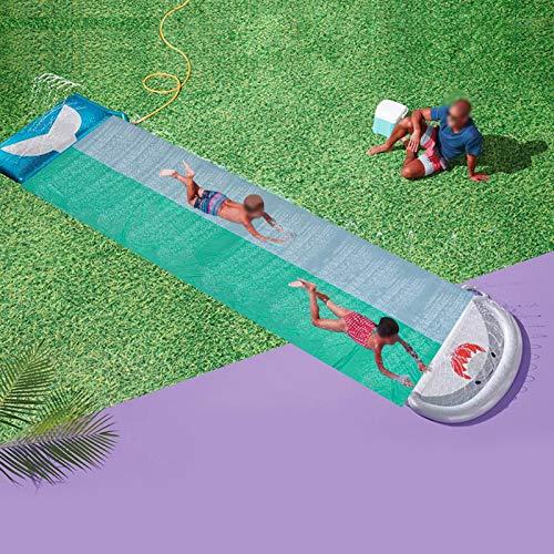 Rubyu-123 Wasserrutsche (550x145cm) Kinder Doppelt Rutschmatte, Dickerer Wasserrutschbahn Wassermatte, mit Sprinkler Kinder Wasser Spielzeug, Outdoor Wasserspielzeug für Garten Rasen