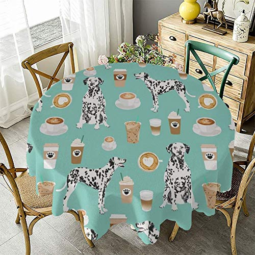 "Fashion Round Tablecloth Dalmatians Cute Mint Coffee Best Dalmatian Dog Table Cover Great for Buffet Table, Parties, Holiday Dinner & More -Warm Decor Fits Tables Up to 48"" - 70"" Diameter"