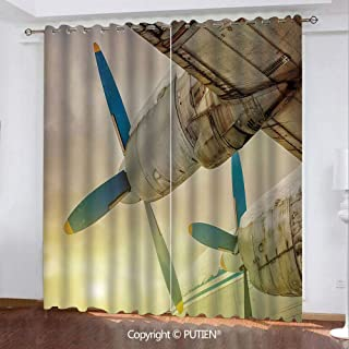 Satin Grommet Window Curtains Drapes [ Vintage Airplane Decor,Old Wing Aircraft with Propellers at Sunset Snowy Winter Sky Decorative,Brown Blue Yellow ] Window Curtain for Living Room Bedroom Dorm Ro