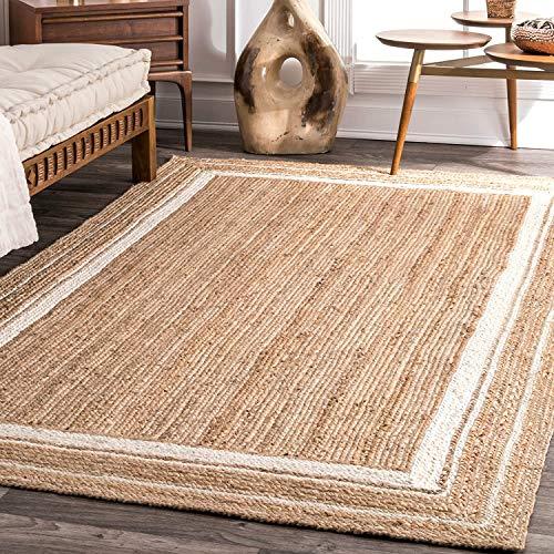 Jute Rug Natural with White Line Braided Handmade Floor Mat Reversible Area Rug (2' x 6')